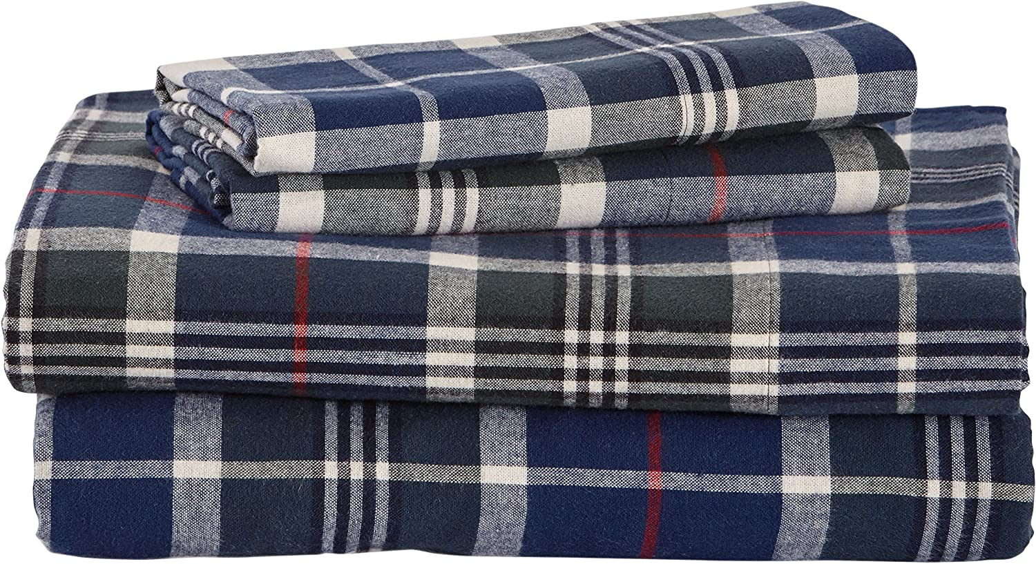 Stone & Beam Rustic Plaid 100% Cotton Flannel Yarn-Dyed Sheet Set, Easy Care, California King, bluee and Green