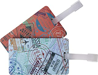 Set of 2 Luggage Tags, passport Stamps