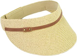 Classic Straw Summer Visor Hats, Adjustable Sun Golfing Visor with Faux Leather Belt