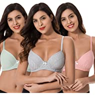 1c40e2accb290 Curve Muse Plus Size Unlined Balconette Underwire Bra-3Pack(Size  34B to  48DDD