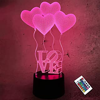 CooPark Love 3D Lamp with Remote Control 16 Colors Change Dimmable Function, Heart LED Illusion Night Light Warm Theme Bed...