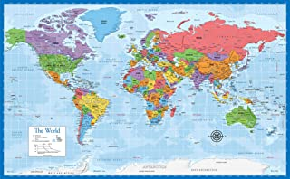 "Laminated World Map - 18"" x 29"" - Wall Chart Map of The World - Made in The USA - Updated for 2020"