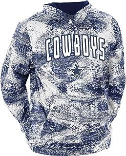 Zubaz NFL Dallas Cowboys Mens Static Hoodie, Navy Blue/Metallic Silver