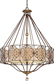 Feiss F2603/4BRB/OBZ Marcella Glass Drum Pendant Lighting, Bronze, 4-Light (32