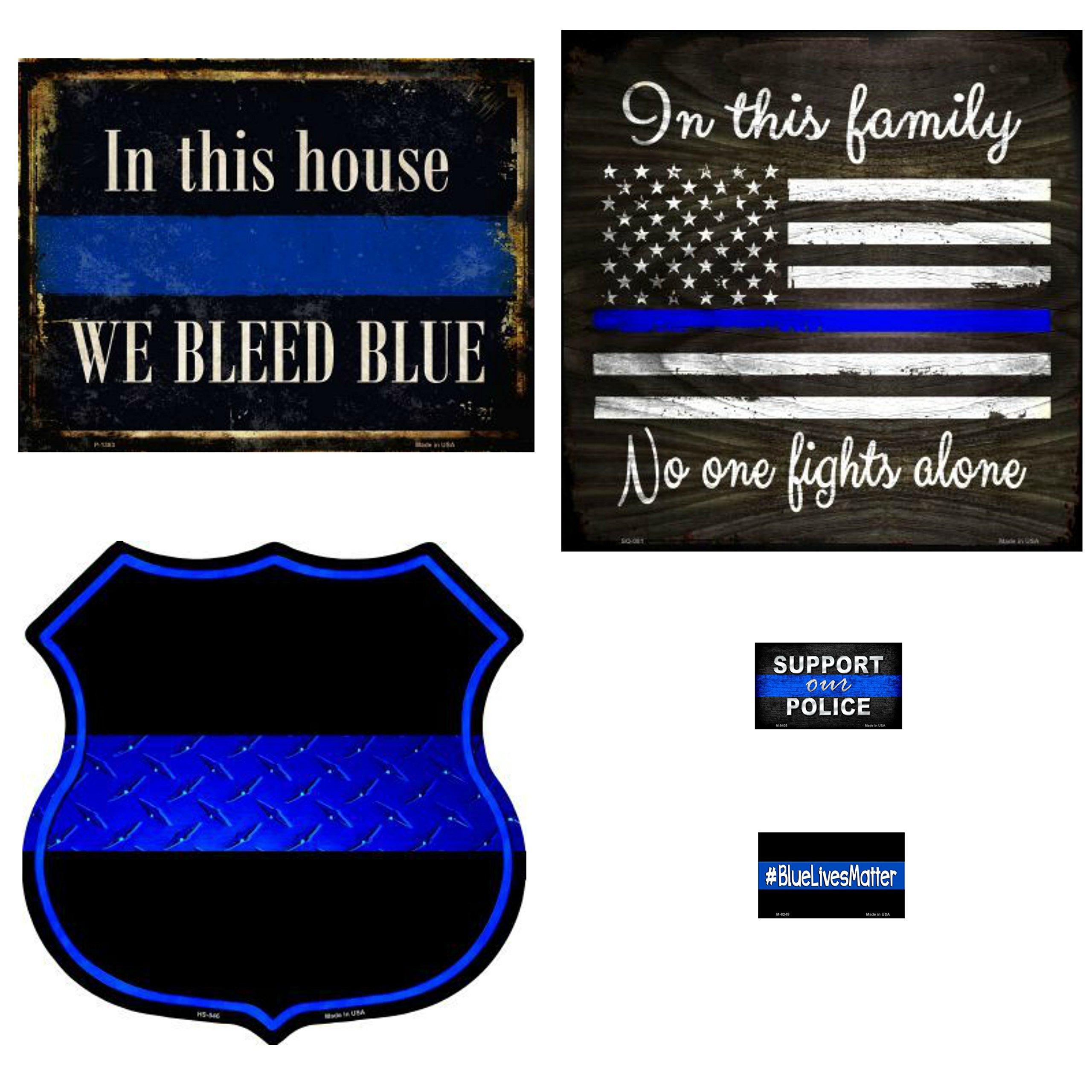 Smart Blonde Signs Bundle: Placa decorativa de pared de la policía – We Bleed Azul, en esta