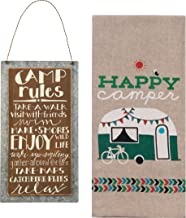 Camping Home Decor Set | Camp Rules Sign and Happy Camper Chambray Towel Bundle (2 pieces total)