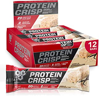 BSN Protein Bars - Protein Crisp Bar by Syntha-6, Whey Protein, 20g of Protein, Gluten Free, Low Sugar, Vanilla Marshmallow, 12 Count