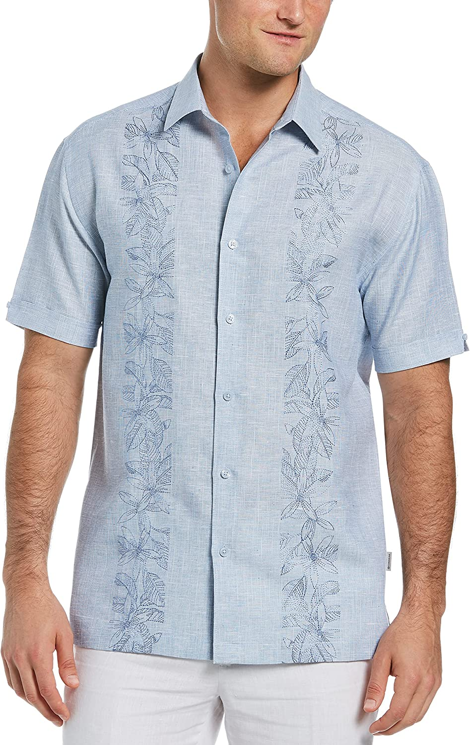 Cubavera Men's Tropical Panel Linen-Blend Short 2021 spring and summer new Embroidered 4 years warranty Slee