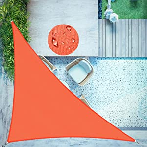 LOVE STORY Waterproof 10'×10'×14' Triangle Orange Red Sun Shade Sail Canopy UV Resistant for Outdoor Patio Garden Backyard