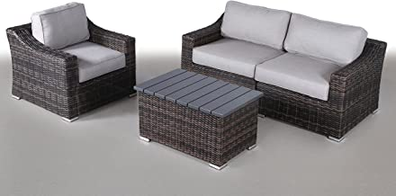 Century Modern Outdoor Marina Collection Patio Furniture Sofa Garden, Sectional Furniture Set Resort Grade Furniture. No Assembly Required [CM-5904] (4 Piece, Marina Brown)