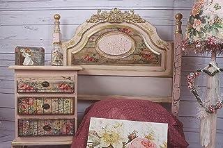 Cabecero y mesita de noche artesanal color rosa y estilo vintage, exclusivo y único, cabecero y mesita de noche para dormi...