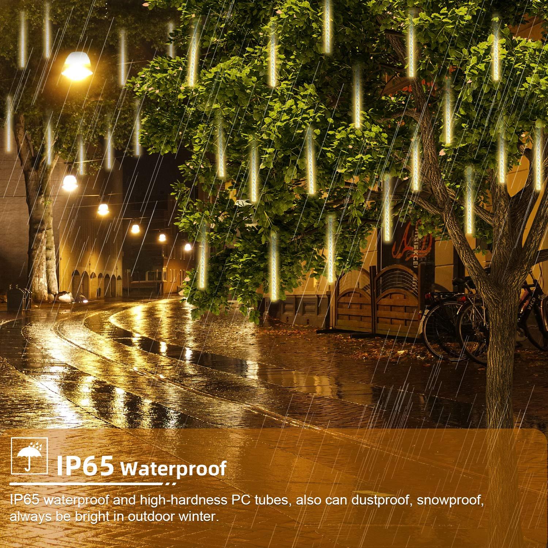 GPODER Lluvia De Meteoros 30CM, 8 Impermeable Espiral Tubos Luces Lluvia, 288 Leds Meteoros Lluvia Luces para Navidad Árbol Exterior Jardín Decoración Luces Leds(Blanco Cálido): Amazon.es: Hogar