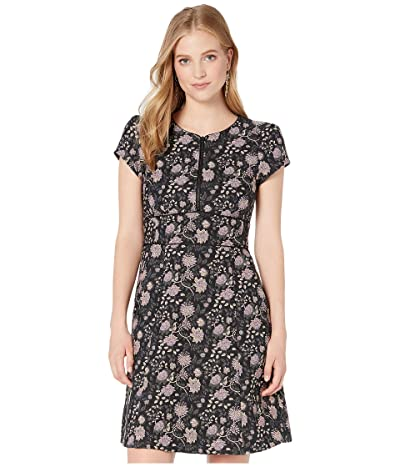 Nanette Lepore Floral Jacquard Zip Dress (Black Multi) Women