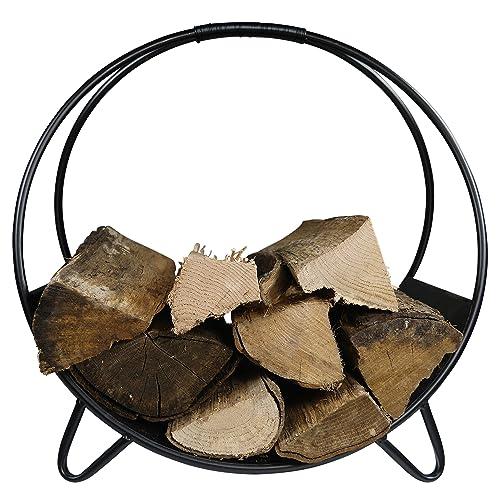 Khevga Panier en bois de cheminée métal noir moderne rond