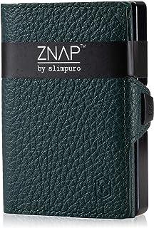 Porta carte di credito ZNAP con fermasoldi in alluminio e scomparto per monete - Protezione RFID - Versione a 8 o 12 carte...