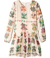 Chloe Kids - Couture Mini Me Long Sleeve Watercolored Details Dress (Big Kids)
