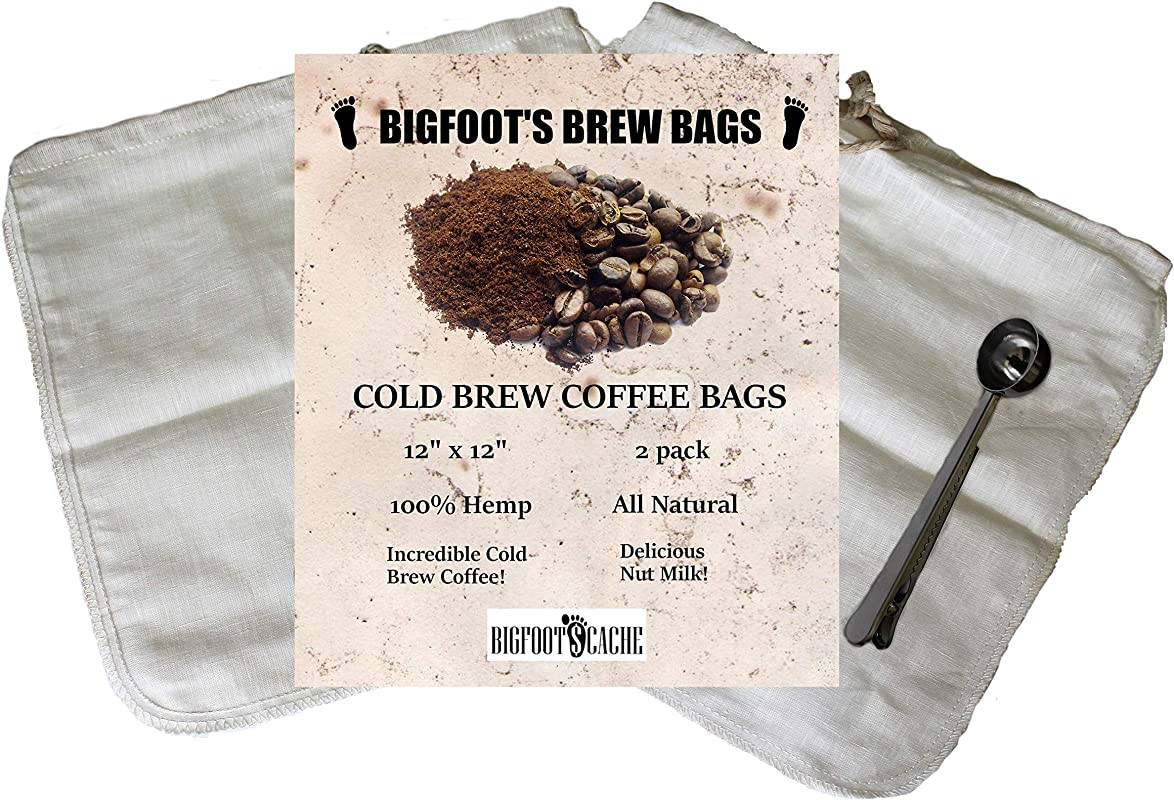 Cold Brew Coffee And Almond Milk Reusable Washable Two Count Hemp Material Filter Bags With Bonus Free Stainless Steel Coffee Scoop With Clip Included Fits A 64 Ounce Or Larger Mason Jar Or Container