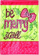 Magnolia Garden Be Merry Y'all Holly Berry 13 x 18 Small Double Applique Outdoor Holiday House Flag