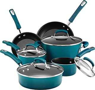 Rachael Ray 17683 Brights Nonstick Cookware Pots and Pans Set, Marine Blue