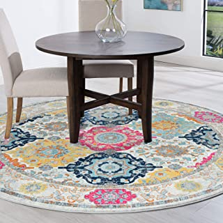 Tayse Hanna Multi-Color 8 Foot Round Area Rug for Living, Bedroom, or Dining Room - Boho, Border