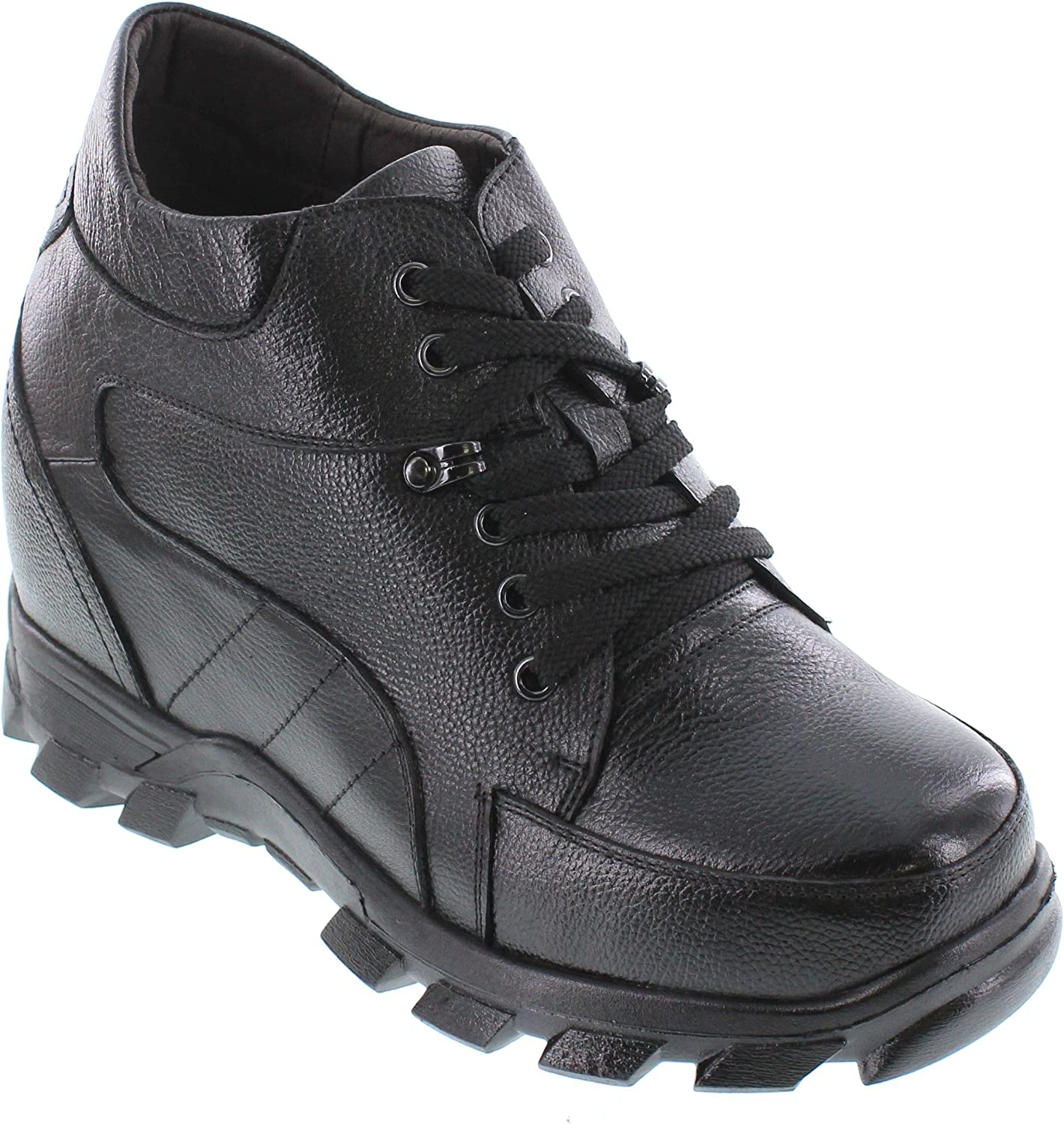 CALDEN - K107216 - 5.2 Inches Taller - Height Increasing Elevator shoes-Black Lace up Boot