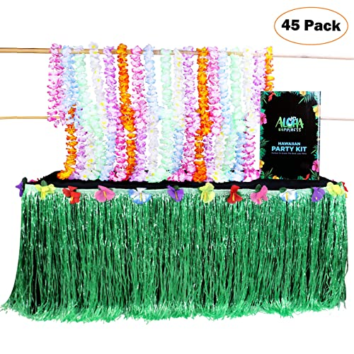 Aloha Happiness Hawaiian Leis Necklaces Pack Of 36 1 Green Grass Table Skirt