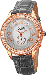 Women's Swarovski Crystal Watch - Studded Swarovski Colored Crystals Accented Bezel On Genuine Alligator Leather Strap - BUR144