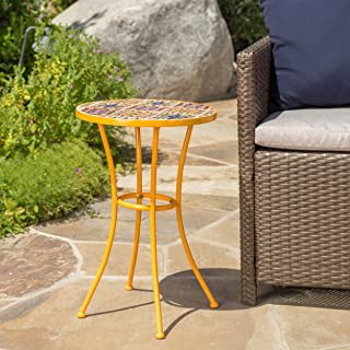 Brienne Outdoor Yellow Ceramic Tile Side Table with Iron Frame