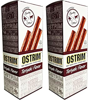 Ostrim Beef & Ostrich Meat Snack Stick - Teriyaki - 1.5 Ounce (Pack of 20) High-Protein