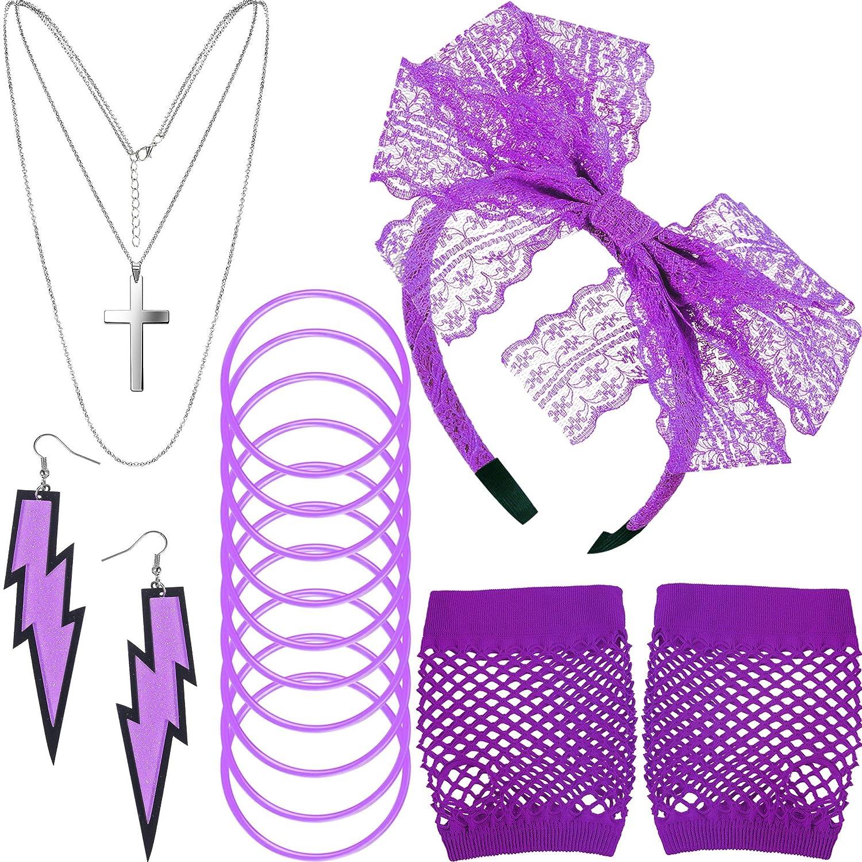 80s Costume Long Beach Cheap Mall Accessories Fishnet Gloves N Headband Lace Earrings