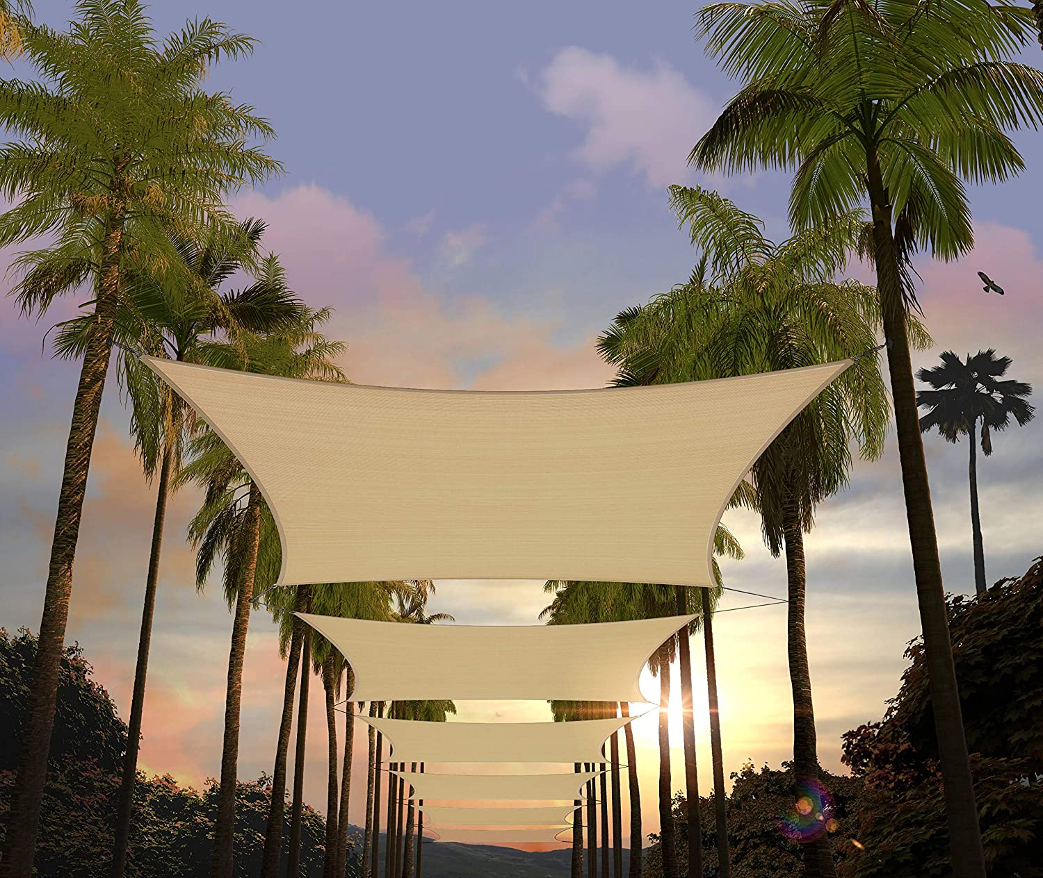 Amgo 8' x 16' Beige Rectangle Sun Shade Sail Canopy Awning ATAPR0816, Water & Air Permeable, 95% UV Blockage, Commercial and Residential (We Customize)