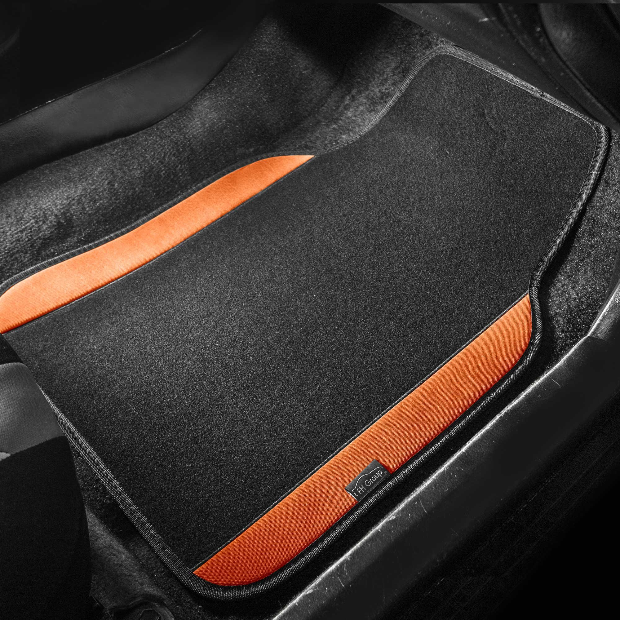 Sedan and SUV with Driver Heel Pad Orange FH Group F14407ORANGE Premium Full Set Carpet Floor Mat