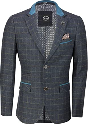 XPOSED of London Classic Men's Tweed Country Blazer Retro Checks Smart Tailored Fit Vintage Styled Suit Jacket