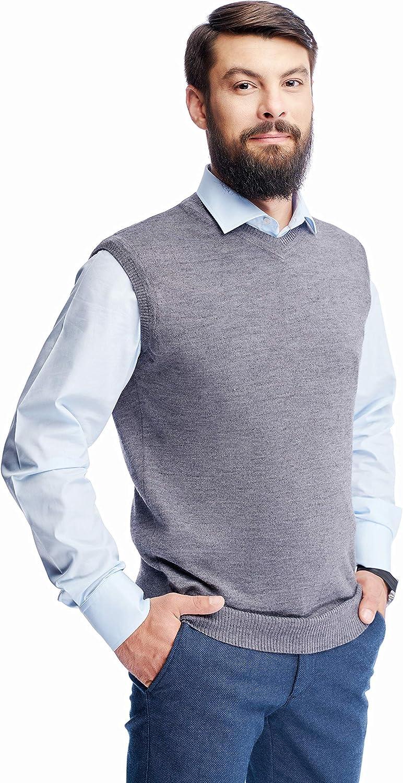 Men's Merino Wool V Neck Sweater Casua Classic Under blast sales Short New Shipping Free Shipping Sleeve Vest