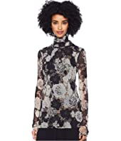 FUZZI - Long Sleeve Crochet Flower T-Neck