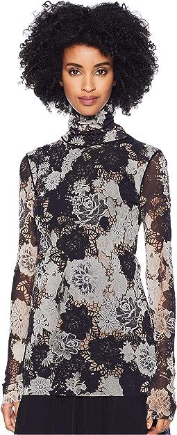 Long Sleeve Crochet Flower T-Neck