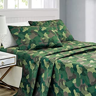 WPM Kids Collection Bedding 3 Piece Army Green Twin Size Sheet Set Flat Fitted Sheets Pillow sham Military Camouflage Theme Boys Bedroom Design (Camouflage Military, Twin Sheet Set)