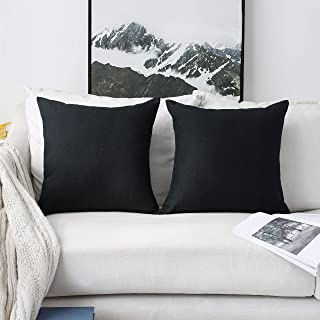 Home Brilliant 2 Packs Winter Decorations Textured Linen Pillowcases Pillow Euro Shams Throw Pillows Cushion Covers for Bed, 20x20 inches(50cm), Black