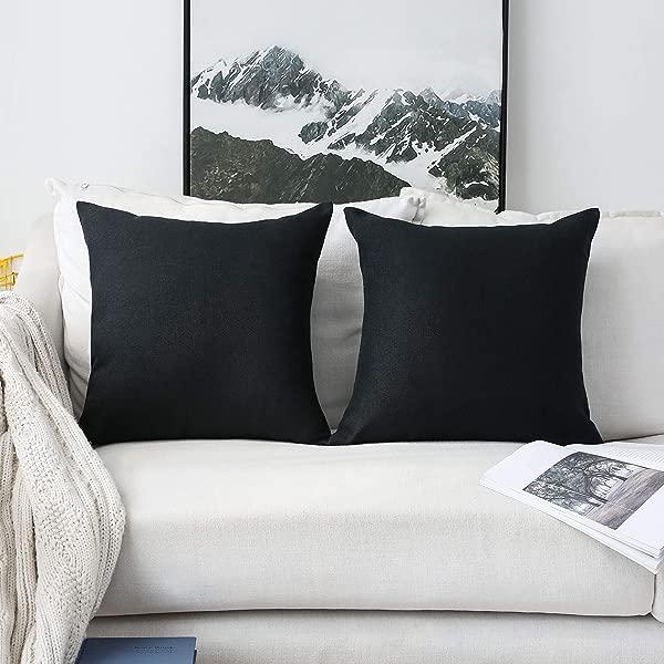 家居辉煌 2 件套装饰靠垫套床上用品抱枕套沙发用 22 英寸 55厘米黑色