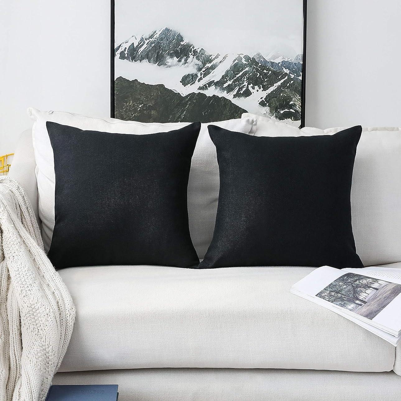寛大なエントリ感情Home Brilliant 抱き枕カバー 2枚セット クッション カバー 45 45cm 高級感 おしゃれ ブラック 亜麻 麻 ベッド 車