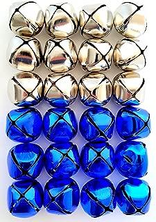 Jingle Bells 1 1/4 inch (24 Piece Pack, Silver & Blue)