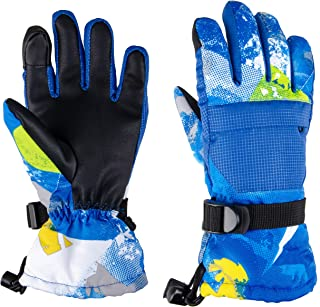 TRIWONDER Kids Winter Snow Ski Gloves Waterproof Touch Screen Cold Weather Gloves Boys Girls Snowboarding Skiing Sport Mittens (Blue, S (9-13 Years Old))