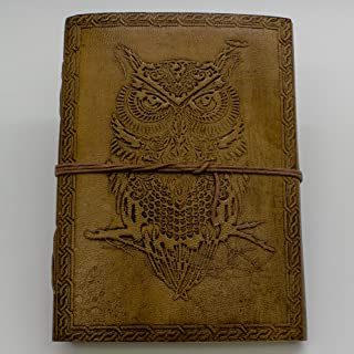 Owl Journal - Leather Journal for Men and Women - 200 Page Notebook and Travel Journal - SongWriting Journal and Artist Sk...