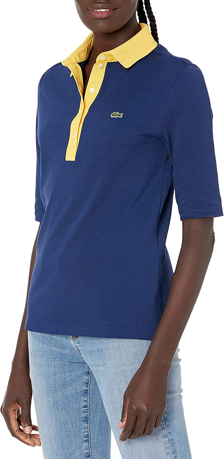 Lacoste Women's 3/4 Sleeve Contrast Placket Slim Fit Polo Shirt