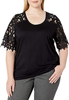 City Chic Women's Apparel Women's Plus Size Round Necked top with lace Sleeve Detail