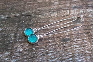 Recycled Vintage Mason Jar Long Drop Charm Earrings