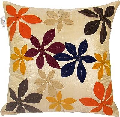 ZIKRAK EXIM Poly Dupion Cushion Covers,40X40 cm (16X16), Multi-coloured-Set of 7