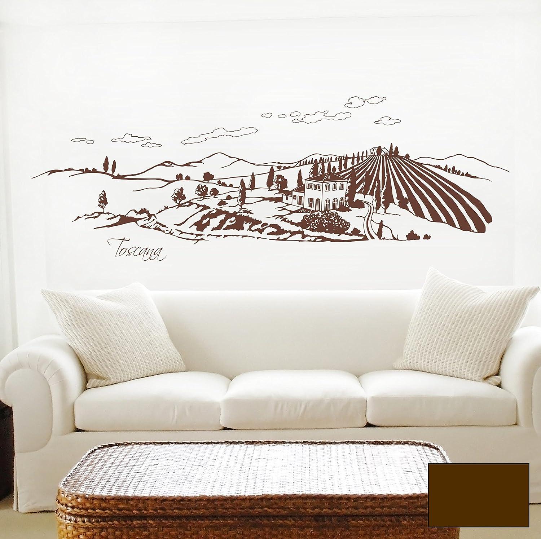 Wandtattoo Wandaufkleber Toscana Toskana Landschaft Italien 1606 1606 1606 - ausgewählte Farbe  Schokobraun - ausgewählte Größe  XXL - 140cm breit x 44cm hoch B014V2HTTM 3f03f1