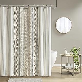 INK+IVY Imani Tufted Chenille 100% Cotton Shower Curtains Machine Washable, Modern Home Bathroom Décor Bathtub Privacy Scr...