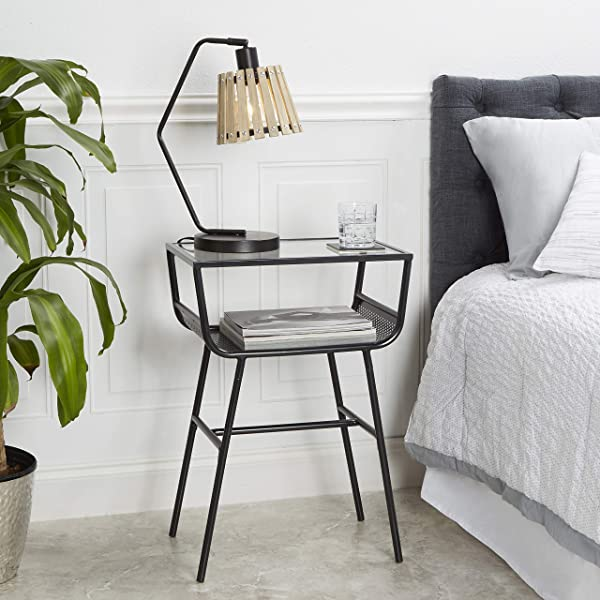 Add A Clean Line Touch To Any Bedroom With Stylish Durable And Eye Catching Metal Glass Open Shelf Nightstand Black